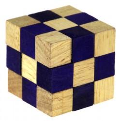 Łamigłówka drewniana kostka 45 mm (nieb)