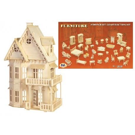 Domek gotycki + mebelki zestaw